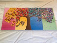 Four Seasons Canvas Wall Art Painting with Buttons by SameAsNever, $225.00