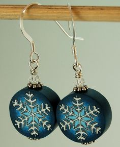 White Snowflake on Blue Polymer Clay Cane by ikandiclay on Etsy, $5.00