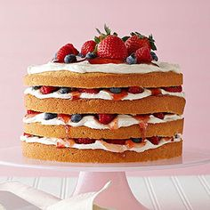 Vanilla Cake with Buttercream, Berries, and Jam From Better Homes and Gardens, ideas and improvement projects for your home and garden plus recipes and entertaining ideas.