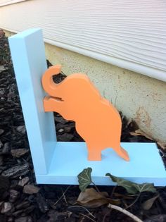 Orange Elephant with Blue Base Bookend  Price by ProfessorFinley, $25.00