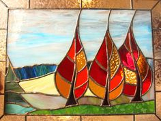 Autumn Stained Glass Panel Window Fall Trees by FleetingStillness, $275.00