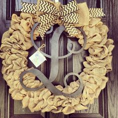 Large burlap wreath // black vine monogram // Burlap and black chevron bow on Etsy, $115.00
