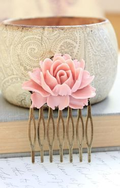 Pink Rose Comb Pastel Rose Metal Hair Comb Bridal Wedding Spring Floral Shabby Chic Hair Accessories Romantic Cabbage Rose Antique Brass on Etsy, $21.00