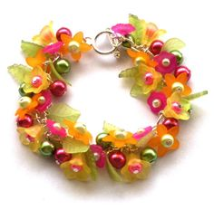 Orange and Yellow Flower Bracelet - from beadingshaz on Etsy
