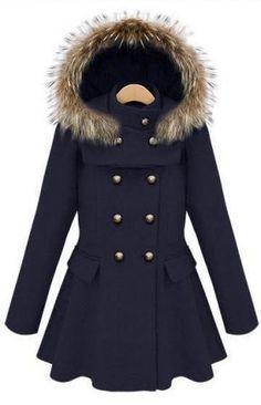 Navy Hooded & Ruffled Coat