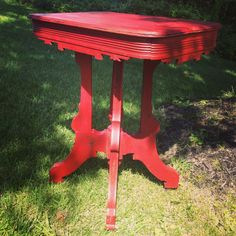 Antique Vintage Red Victorian Style End Table