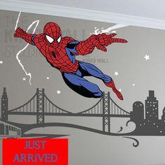 cityscap, spiderman boys room, room idea, boy bedroom, wall decals, hero room, big boy, kid room, boy room