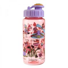 A great leak proof bottle for girls, covered in all things you might find in a secret garden...