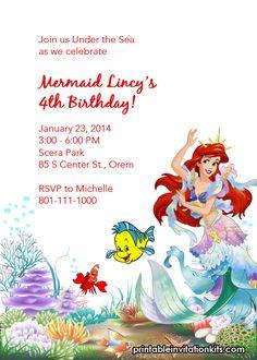 Little Mermaid Ariel and Friends Birthday Invitation