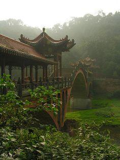 Bridge in the mist, Leshan, China