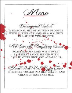 Murder Mystery Dinner Party - bloody menu