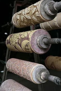 Antique wooden rollers for printing wallpaper. William Morris for Sanderson.
