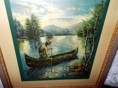 Native American Indian Maiden in Canoe Titled Ramona - Brown & Bigelow 1916