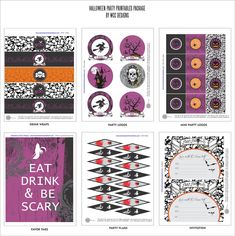 "Free ""glam + goth"" Halloween party printables #halloween #party #printables #free #glam"