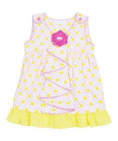 Look at this #zulilyfind! Pink & Yellow Flower Ruffle Tunic - Infant, Toddler & Girls by Candy Bean #zulilyfinds