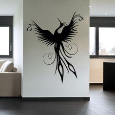 Bird Wall Decals   Phoenix Bird Wall Decal Wall Art Stickers