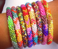 stacked bracelets, color, accessori, jewelry bracelets, laura bracelet, beaded bracelets, seed beads, jewelri, arm candies