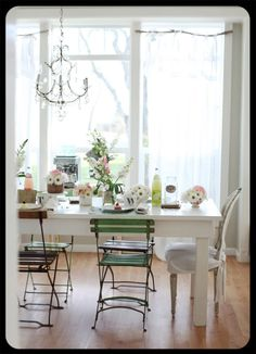 Oh those old French slat garden chairs in green!