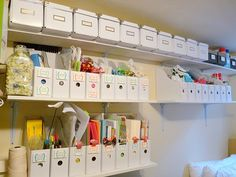 craft storage with IKEA magazine boxes