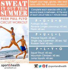 Sweat it out this summer when you try this Push, Pull, Plyo circuit workout - your body will be beach-ready in no time!
