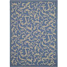 Indoor/ Outdoor Mayaguana Blue/ Natural Rug (6'7 x 9'6)