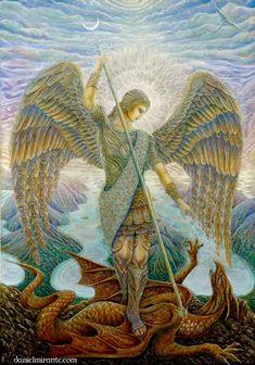 angel realm, archangelmichael daniel, galleries, daniel mirant, archangel michael, white lights, art, dragon, michael archangel