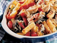 A fall dish you'll LOVE- Portobello Pasta Bake Fresh bell peppers blend with chicken, mushroom soup, and sage for a healthy, satisfying meal.