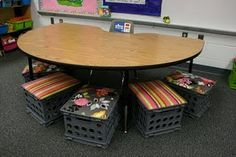 school, seat, extra storage, milk crates, guided reading