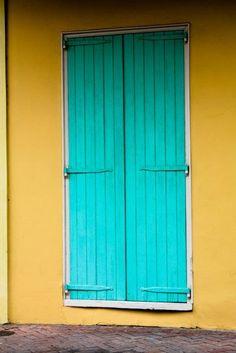 yellow wall, aqua door, French Quarter