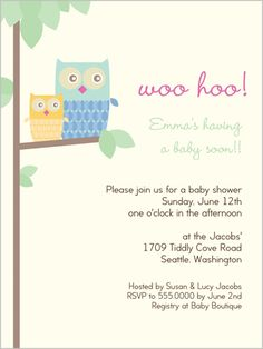 Woo Hoo Baby Shower Invites