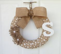 Burlap Wreath - Initial Wreath - Everyday Wreath - White Polka-Dot Wreath - 12-Inch Wreath w/Jute Flowers and White Initial - Outdoor Wreath