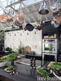 The House Beautiful kitchen - leave it to Tyler Florence to bedeck it in copper!