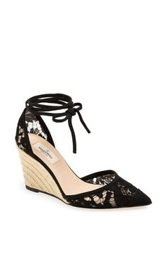 Valentino 'lace' espadrille wedge. In love.