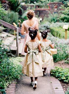 The most adorable flower girls: http://www.stylemepretty.com/little-black-book-blog/2014/09/15/organic-vintage-mellon-park-garden-wedding/ | Photography: Joey Kennedy - http://www.joeykennedyphotography.com/