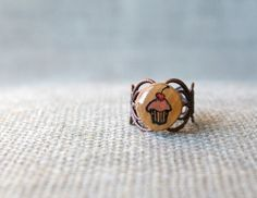 Cupcake Ring  Cupcake Jewelry  Filigree Ring  by TheSkinnyThicket, $9.99