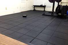 DIY rubber gym tile installation : RubberFlooringInc's Evolution Rubber Tiles. Visit http://www.rubberflooringinc.com/interlocking-tile/evolution-rubber-tiles.html