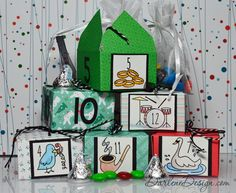Twelve Days of Christmas treat boxes for kids using the Envelope Punch Board and Twelve Days stamp set by Ellen Hutson.  Video tutorial included!