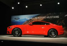 The 2015 Ford Mustang was unveiled in front of hundreds of enthu­siasts and executives in ceremonies in Flat Rock MI. Susan Spaulding of Dundee saw the newest pony only as a shell without its glossy coat of race red paint. Story and more details from MonroeNews.com at the link #Ford