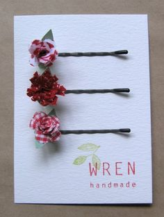 Super cute idea for using up fabric scraps, floral hair pins
