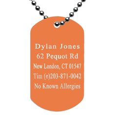 Engraved Dog Tag ID Necklace for Runners - Orange