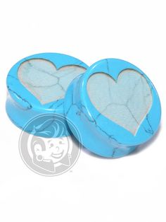 Heart Engraved Turquoise Plugs