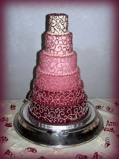 Burgundy Vergerated Cake - Burgundy to Cream Vergerated Cake -- iced in buttercream and decorated reversing the colors....