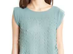 {Greylin Holly Top} silk tp with laser cut-out detail.