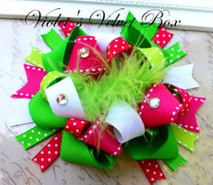 Boutique Bow- Hot Pink and Lime Hairbow OVER THE TOP-Luxurious Boutique Bow by Violets Velvet Box