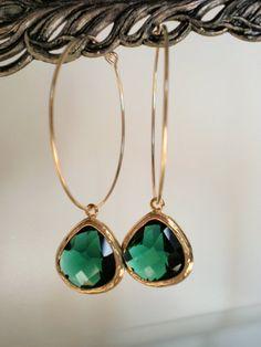 Emerald Green Glass Gold Hoop Earrings