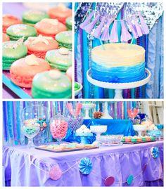 Adorable Mermaid Morning Tea Party via Kara's Party Ideas   Full of party decor, ideas, cupcakes, printables, cakes, and more! KarasPartyIde...
