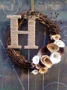 Rustic fall wedding shabby chic burlap flower monogram wreath  on Etsy, $60.00