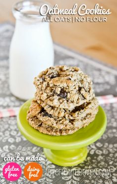 Delicious and chewy oatmeal chocolate chip cookies that can easily be made gluten free and/or dairy free.