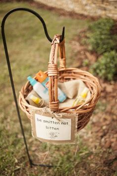 Having an outdoor wedding? - your guests will thank you for providing a basket with bug spray & sunscreen. Source: glamour and grace #reception #outdoorwedding secret stuff, real deal, 10 creativ, outdoor weddings, connubi bliss