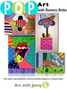 britto project, januari 2012, pop art, art lesson, romero britto lesson, romero britto art projects, activ magazin, art activities, januari idea